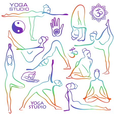 Illustration pour Set of isolated rainbow hand drawn outline yoga poses. Collection of stylized female yoga asanas. - image libre de droit