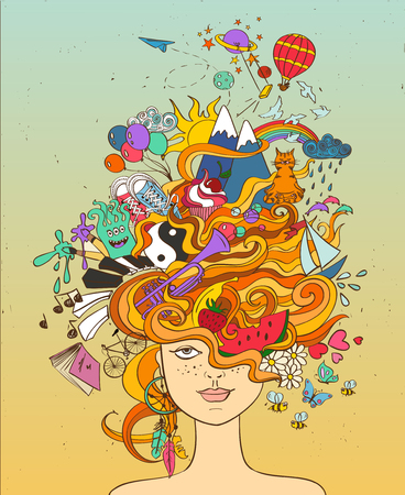 Illustration pour Portrait of young beautiful girl with crazy psychedelic red hair and her dreams, wishes, hobbies - lifestyle concept. - image libre de droit