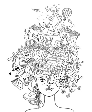 Portrait of young beautiful girl with crazy psychedelic hair and her dreams, wishes, hobbies - lifestyle concept. Creative adult coloring book page.のイラスト素材