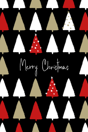 Illustration pour Hand drawn Christmas greeting card with pattern of funny grunge forest trees. - image libre de droit
