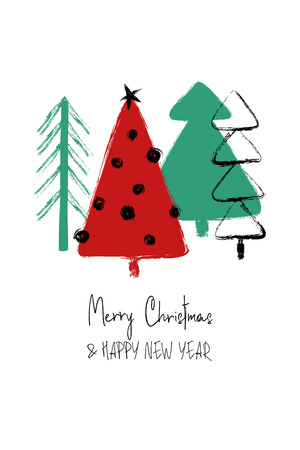Illustration pour Hand drawn Christmas greeting card with funny grunge forest trees. - image libre de droit
