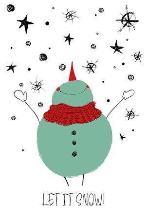 Ilustración de Hand drawn Christmas greeting card with funny smiling snowman enjoying the winter. - Imagen libre de derechos