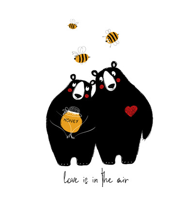 Illustration for Couple of cute bears with honey and flying bees. Love greeting card. - Royalty Free Image