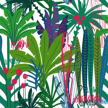 Jungle seamless pattern with colorful tropical plants. Abstract wild nature background.