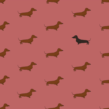 Seamless pattern with cute Dachshund dog. Funny doggy background, wallpaper or print design.
