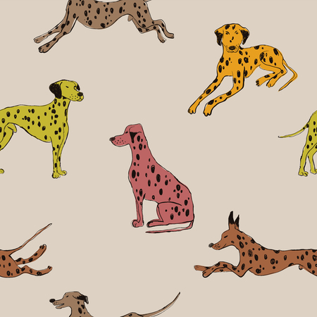 Illustration pour Seamless pattern with cute Dalmatian dog. Funny doggy background, wallpaper or print design. - image libre de droit