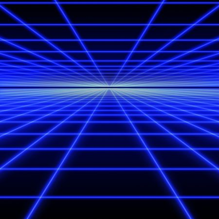Perspective grid of blue luminous rays on black background