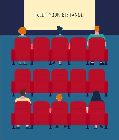 Social distance in the cinema. There are few people in the Cinema Hall, it almost empty. People keep their distance, sit .through one chair, safe. Virus protection. Girls and men watch a movie. Vector.