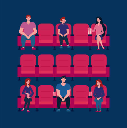 Social distance in the cinema. Vector flat. There are few people in the Cinema Hall, virus protection. People keep their distance, sit through one chair, safe. Girls and men watch a movie, eat popcorn