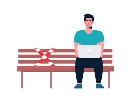A man with a laptop sits alone on a bench. There is a designated place on the bench where you cannot sit. A socially safe distance to prevent the spread of the COVID-19 coronavirus. Vector, cartoon.