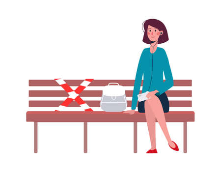 A woman in headphones sits alone on a bench. There is a designated place on the bench where you cannot sit. A socially safe distance to prevent the spread of the COVID-19 coronavirus. Cartoon Vector.