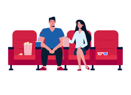 A couple in love at the cinema, there are no more people. Young people, a girl and a man watching a movie, eating popcorn. Vector cartoon characters on white background