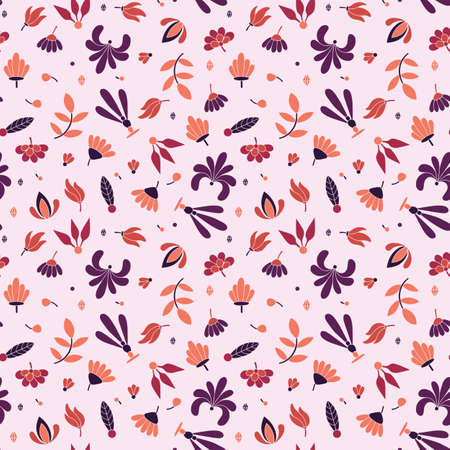 Illustration pour Modern colored seamless pink pattern with flowers and geometric elements. - image libre de droit