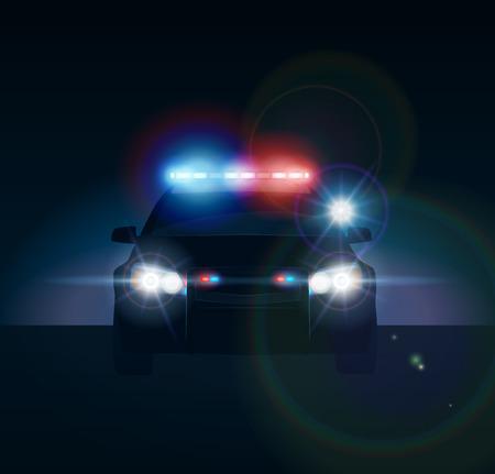 Illustration pour Police car at night. Realistic vector illusration - image libre de droit