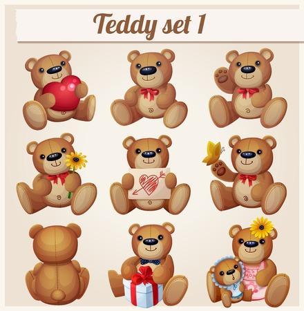 Teddy bears set. Part 1. Cartoon vector illustration