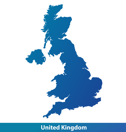 Illustration pour Map of UK (United Kingdom). Silhouette isolated on a white background. - image libre de droit
