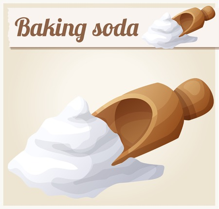 Baking soda. Detailed Vector Icon. Series of food and drink and ingredients for cooking.