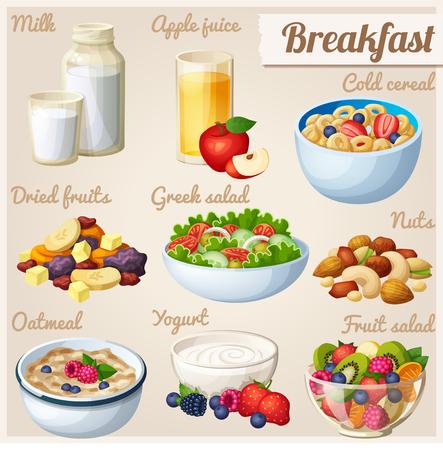 Breakfast 2. Set of cartoon vector food icons.