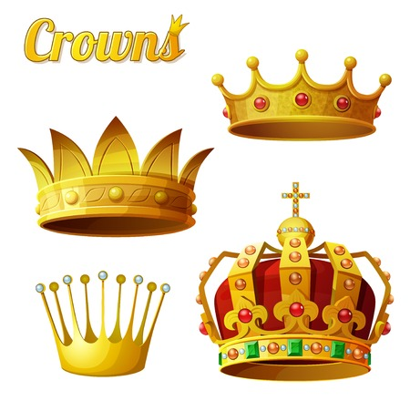 Illustration for Set 3 of royal gold crowns isolated on white.  - Royalty Free Image