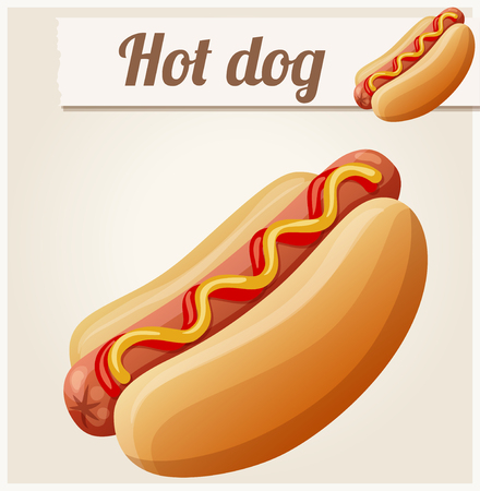Hot dog. Detailed vector icon. Series of food and drink and ingredients for cooking.