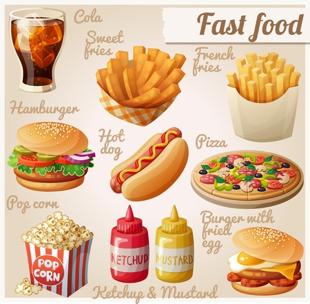 Illustration for Fast food. Set of cartoon vector food icons. Ketchup, mustard, glass of cola, french fries, hamburger, sweet potato fries, burger with fried egg, pop corn, hot dog, pizza - Royalty Free Image