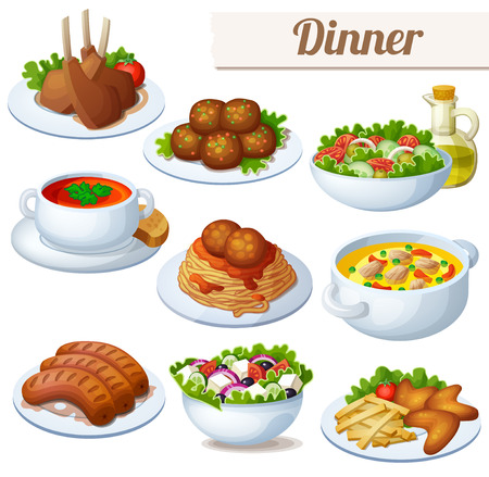 Vektor für Set of food icons isolated on white background. Dinner. Lamb chops, spaghetti with meat balls, salad with olive oil, cream soup, bollion, grilled sausages, greek salad, chicken wings - Lizenzfreies Bild
