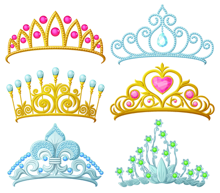 Illustration for Set of princess crowns (Tiara) isolated on white - Royalty Free Image
