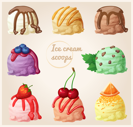 Set of cartoon ice cream icons. Ice cream scoops with different toppings and flavors. Vanilla with chocolate syrup, creme brulee with caramel, chocolate, blueberry with berry syrup, mint with chocolate chips, strawberry, cherry, orange