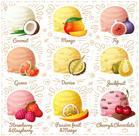 Set of cartoon vector icons isolated on white background. Ice cream scoops with different fruit and berry flavors. Coconut, mango, fig, guava, durian, jackfruit, strawberry and raspberry, mango and passion fruit, cherry and chocolate. Part 2