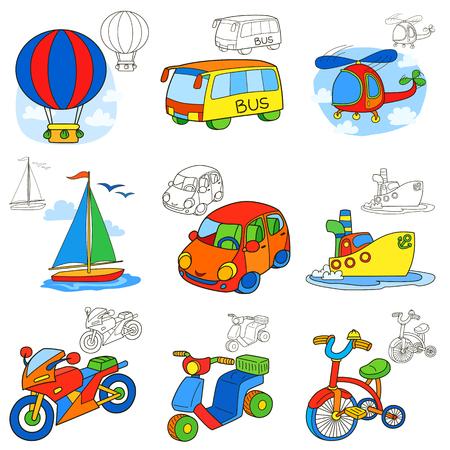 Ilustración de Transport vehicles. Cartoon coloring book page - Imagen libre de derechos