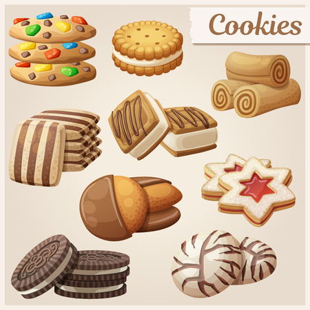Illustration pour Set of delicious cookies. Cartoon vector illustration. Food sweet icons. - image libre de droit