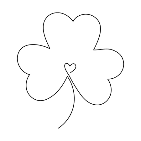Illustration for One line drawing. Continuous line art. Clover leaf or shamrock. Hand drawn minimalistic design for simple icon or emblem for St. Patrick Day. - Royalty Free Image
