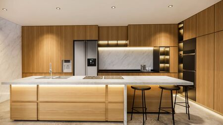Photo pour 3d rendering. Interior house modern open living space with kitchen.Loft style Duplex apartment residence.Home decoration luxury  interior design. - image libre de droit