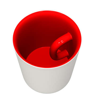 Three-dimensional model - a mug with the handle inside and the inverted colors.