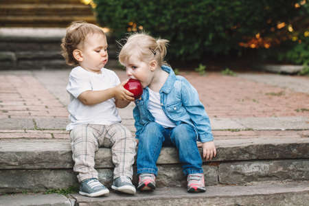 Photo for Group portrait of two white Caucasian cute adorable funny children toddlers sitting together sharing eating apple food, love friendship childhood concept, best friends forever - Royalty Free Image
