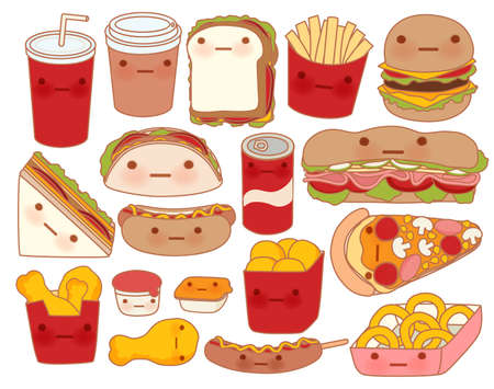 Illustration for Collection of lovely baby food doodle icon , cute hamburger , adorable sandwich , sweet pizza , kawaii coffee , girly taco in childlike manga cartoon style - Vector file EPS10 - Royalty Free Image