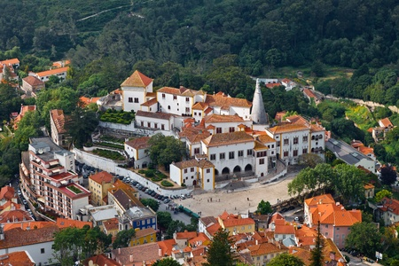 Sintra National Palace near Lisbon in Portugal, View from Above
