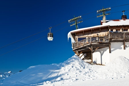 Upper Cable Lift Station and Gondola in French Alps