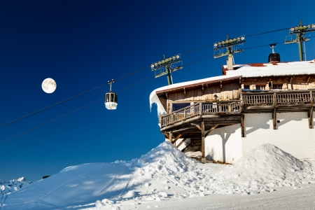 Full Moon and Gondola on Upper Cable Lift Station in French Alps, Megeve