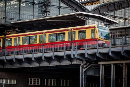 Electric Train Arrived on U-Bahn Station in Berlin, Germany