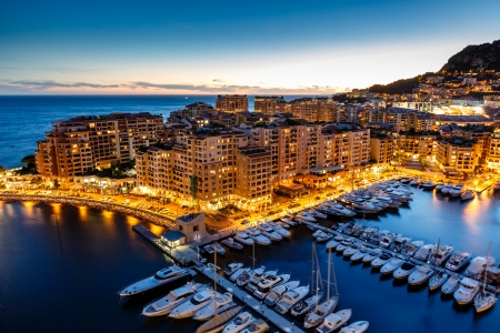Photo pour Aerial View on Fontvieille and Monaco Harbor with Luxury Yachts, French Riviera - image libre de droit