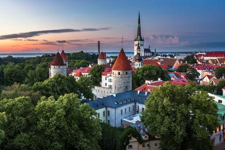 Aerial View of Tallinn Old Town from Toompea Hill in the Evening Tallinn Estonia
