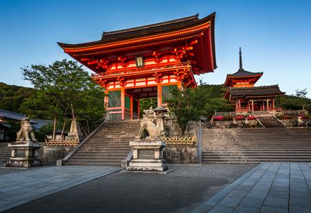 Gates of Kiyomizudera Temple Illumineted at Sunset Kyoto Japan