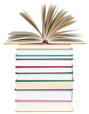 Photo for an open book on the stack of books - Royalty Free Image