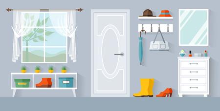 Illustration pour Anteroom vector. Design of the hallway or corridor. Interior of the entrance area. - image libre de droit
