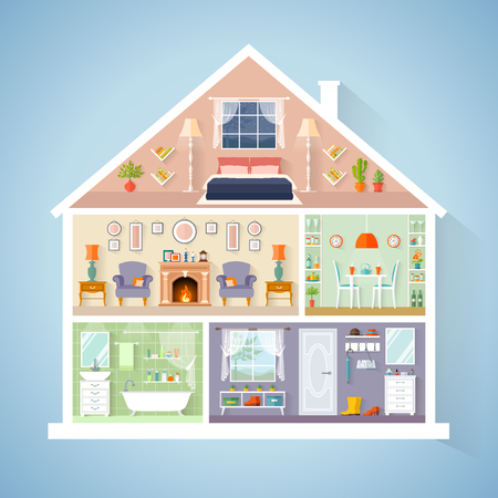 Illustration pour Vector house model in a cut. Rooms with furniture. Detailed interior in flat style. - image libre de droit