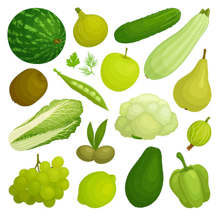 Foto per A set of fruits and vegetables of green color. Green food. Vector illustration. - Immagine Royalty Free