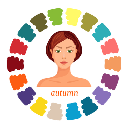 Illustration for Autumn seasonal color type of female appearance. Color analysis palette. Vector illustration. Colors suitable for autumn type. - Royalty Free Image