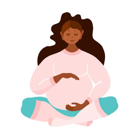 Illustration for Pregnant. Black woman awaiting the birth of a baby isolated on a white background. Vector. - Royalty Free Image