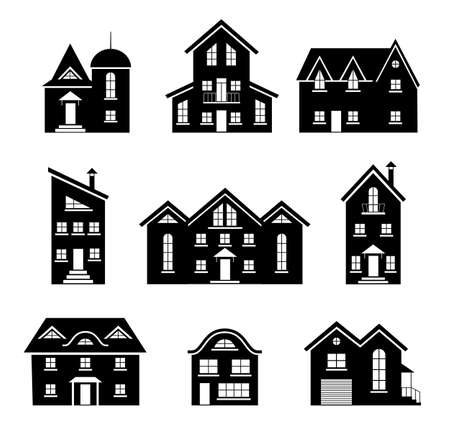 Illustration for Set of silhouettes of houses isolated on white background. Vector template for creating a panorama of a city or street. Residential buildings and cottages icons. Collection of different homes. - Royalty Free Image